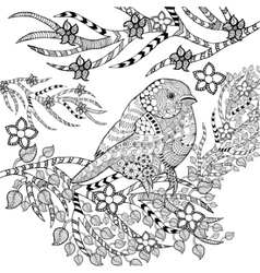 Zentangle stylized tropical bird in flower garden vector image
