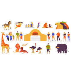 zoo flat set vector image