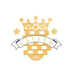 casino logo golden vintage gambling badge or vector image vector image