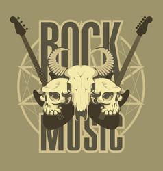 music emblem with skulls guitars and pentagram vector image vector image
