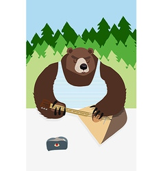Russian bear animal playing on the musical vector image vector image