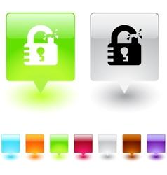 unlock square button vector image vector image