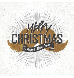 vintage christmas lettering with santa mustaches vector image