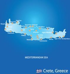 Island of Crete in Greece map vector image
