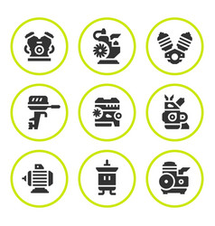 set round icons of motor and engine vector image