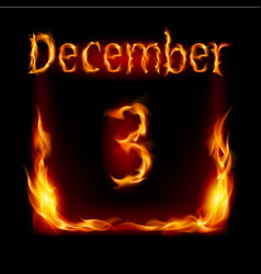 third december in calendar of fire icon on black vector image vector image