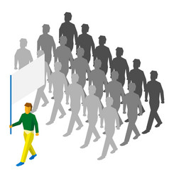 flag bearer and lot of people behind vector image vector image