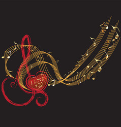 Music notes and love design vector image vector image
