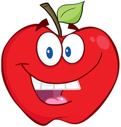 Smiling Apple Cartoon Character vector image vector image