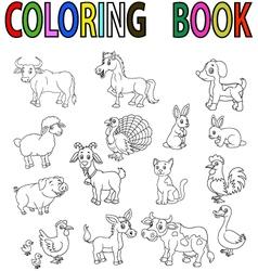 Farm animal coloring book vector image