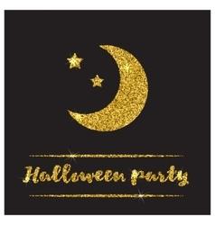 Halloween gold textured moon icon vector image