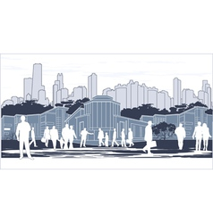 silhouettes of people on blue town outline vector image