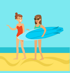 two young women walking on the beach girl in vector image