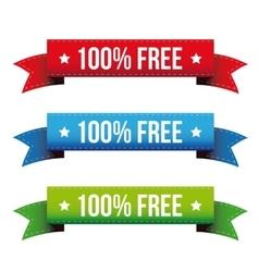 100 percent free ribbon set - red blue green vector