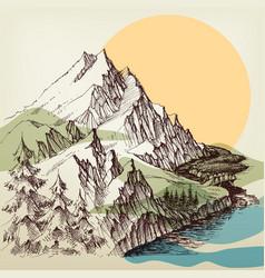 alpine river landscape hand drawing vector image