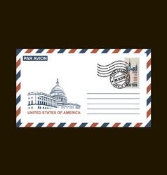 American postal envelope vector