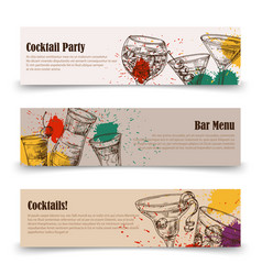 art cocktail party banners with splashes - menu vector image