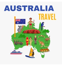 Australia Travel Map Poster vector