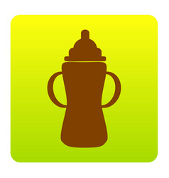 baby bottle sign brown icon at green vector image