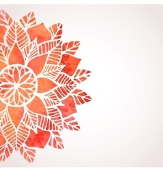 Background with watercolor red lace pattern vector