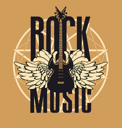Banner for rock music with guitar and wings vector