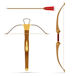 Battle crossbow and bow vector