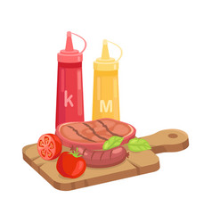 bbq set hot course on plank cartoon icon vector image