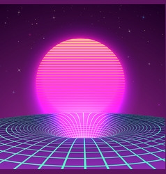 Black hole in neon colors 80s or 90s vector