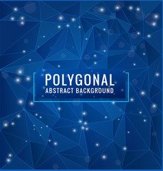 blue polygon with geometric dots and lines vector image
