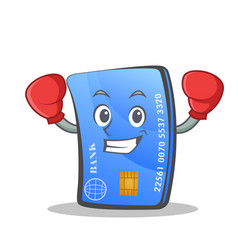 Boxing credit card character cartoon vector