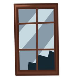 Broken window on white background vector
