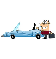 Businessman Waving Next To Convertible Car vector image