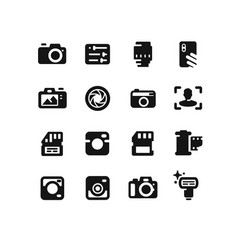 camera icons on white background vector image