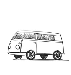 car icon in doodle sketch lines bus vector image