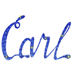 carl name lettering tinsels vector image
