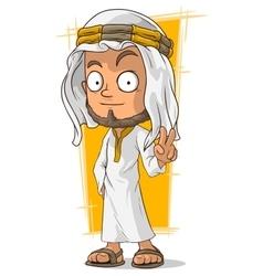 Cartoon arabian sheikh in headscarf vector
