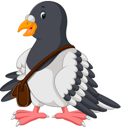 Cartoon funny pigeon bird vector