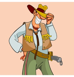 cartoon smiling elegant man cowboy vector image