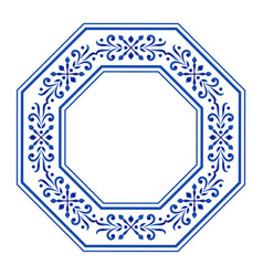 Ceramic frame octagon vector