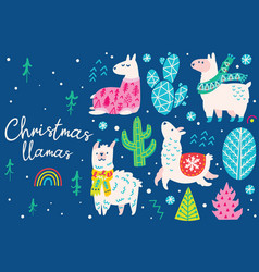 christmas set with llamas wearing in sweater hat vector image