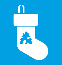 christmas sock icon white vector image
