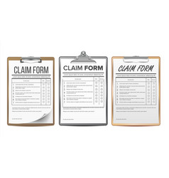 Claim form set business agreement legal vector