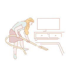 cleaning house and housewife with vacuum cleaner vector image