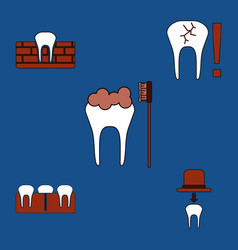 Collection of icons and dental disease vector
