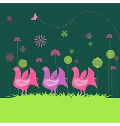colorful hen and flowers vector image
