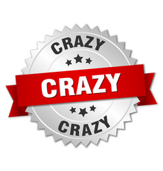 Crazy round isolated silver badge vector