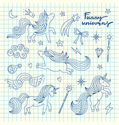 cute hand drawn magic unicorns and stars vector image