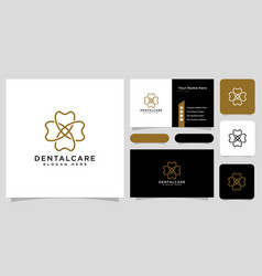 dental care logo line style and business card vector image