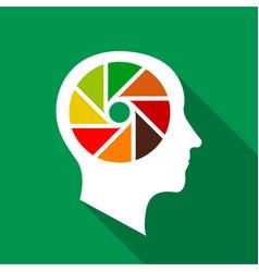 Designer brain icon flat style vector