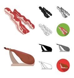 Different meat cartoonblackflatmonochrome vector